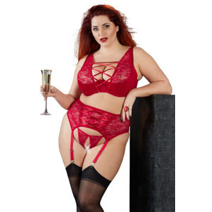 Plus size červený komplet Red Jane, 90D/XL